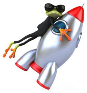 Frosch auf Rakete